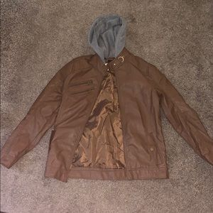 Pho leather jacket with a grey hood